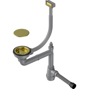 Арматура для одночашевых моек с прямоугольным переливом Omoikiri Wk-1C Lg, светлое золото